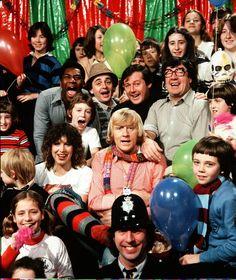 Children television studio 80s group different levels