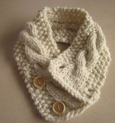 This pattern can be knitted with any bulky yarn. It can also be knit with a double strand of worsted weight yarn. This is a great beginning cable pattern.