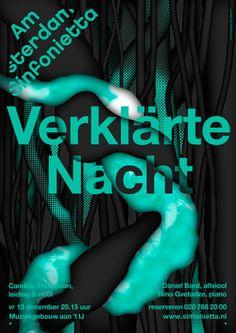vincent vrints / Amsterdam Sinfonietta – Poster for Verklärte Nacht at Studio Dumbar Typo Poster, Typographic Poster, Typographic Design, Typography, Amsterdam, Poster Design Inspiration, Print Layout, Creative Posters, Design Graphique