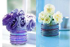 Vaso para flores com pulseiras