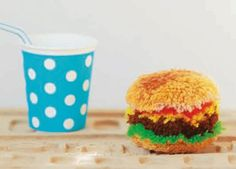 "Here's an ""awwwww"" moment for your Friday: #Howto Make A #Pompom That Looks Like A Tiny #Hamburger. #stashbusting #cute  Source - Make Pompom Fun Shapes"