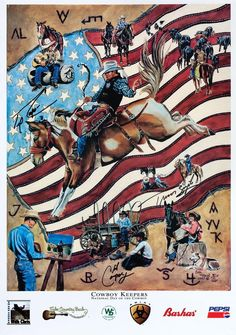 my brother-in-law riding the bronc, another brother-in-law in the painting & privileged to know the artist :)
