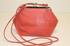 97bf780854a4 Coach Coral Leather Kisslock Shoulder Purse Handbag  coralpursesandhandbags