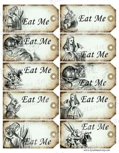 alice in wonderland printable pictures | Eat me tags. Alice in Wonderland printable gift Hang . Whimsical ...