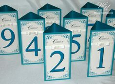 3-sided Wedding table numbers with ribbon and by WeddingUkraine