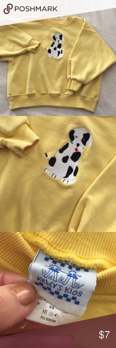 Kelly kids sweatshirt Kelly kids cute Dalmatian embroidered sweatshirt , yellow in color. Cute with black baby gap jeans in my closet!! ❤️💛smoke free home! kelly kids Shirts & Tops Sweatshirts & Hoodies