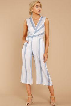 d19b3da758d Chic Blue Striped Jumpsuit - Sleeveless Midi Jumpsuit - Playsuit -  52 –  Red Dress Boutique