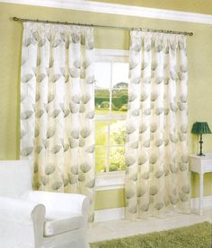 Byron Green Taped 46 X 54 Curtains Lovely Dandelion Pattern On Cream In Home