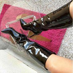 Thigh High Boots, High Heel Boots, Knee Boots, Heeled Boots, Botas Sexy, Rubber Gloves, Sexy Boots, High Heels Stilettos, Womens High Heels