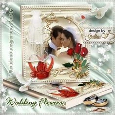 Free Romantic photobook psd template - Wedding rings and flowers - Free download