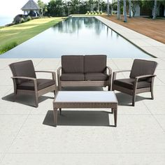 International Home�4-Piece Gray Wicker Patio Conversation Set with Solid Gray Cushion - what to chose! www.homescapes-sd.com