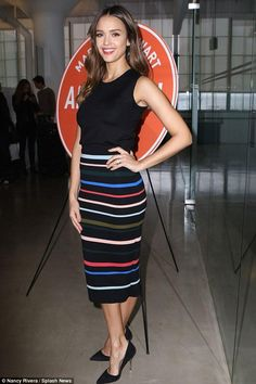 Jessica Alba wearing Kurt Geiger London Bond Pumps in Black Suede and Lela Rose Circle Stripe Knit Pencil Skirt