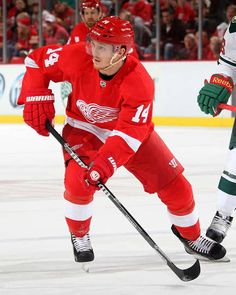 Gustav Nyquist.  Member of Detroit's Grand Rapids Griffins AHL Calder Cup champions in 2013.