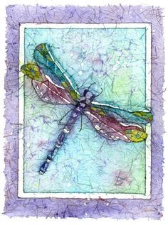 """""""The Turquoise Dragonfly""""  visited me and I painted it layering watercolor washes and wax on rice paper.  This technique is called watercolor batik."""
