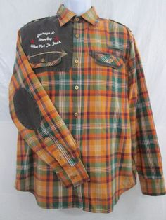 Raw Blue Button Front Western Shirt Peal Snaps Multi-Color-Orange Men's Size LG. #RawBlue #ButtonFront