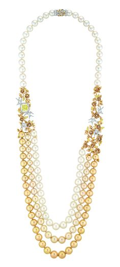 Yellow and white diamond and South Sea pearl 'Envolée Solaire' necklace.