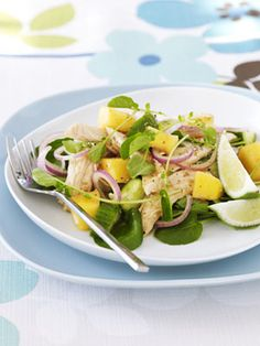 Asian Chicken  Mango Salad. Tried this the other night except I substituted the mixed greens with spinach and added avocado.....its very yummy!