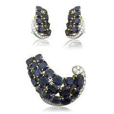 Seaman Schepps 18K Gold Iolite Diamond Brooch Pin Earrings Set