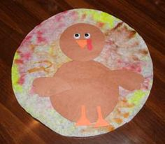 coffee filter turkey craft- color filter with marker, spray water on to blend colors