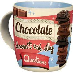 Schokolade fragt keine dummen Fragen ... Statementtasse mit Flair der 50er Jahre