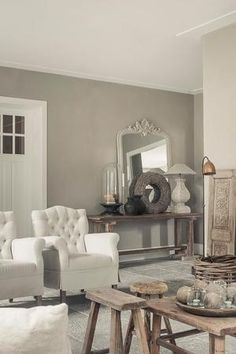 Grey living space ~ lovingly pinned by www. Style Cottage, Sweet Home, Living Comedor, Home And Deco, French Decor, Grey Walls, Interior Design Living Room, Home And Living, Decorating Your Home