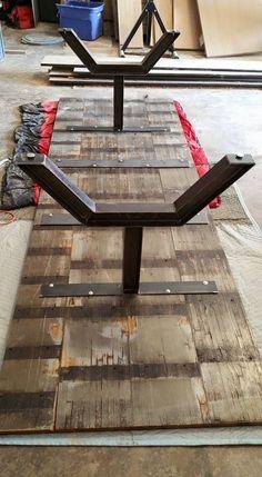 Custom Made Industrial Reclaimed Oak Butcher Block Table