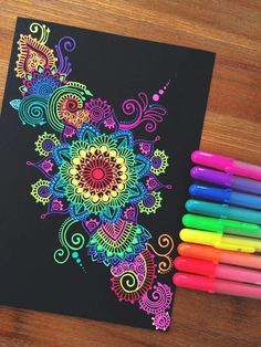 New drawing flowers zentangle black Ideas Mandala Art, Mandalas Drawing, Mandala Doodle, Flower Mandala, Henna Mandala, Henna Art, Gel Pen Art, Gel Pens, Dot Painting