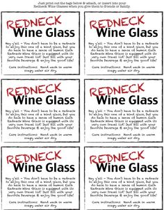 Redneck wine glass tags to print