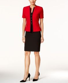 Tahari ASL Colorblocked Skirt Suit
