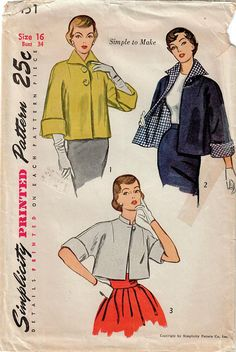 1950s Simplicity 3451 Vintage Sewing Pattern Misses Short