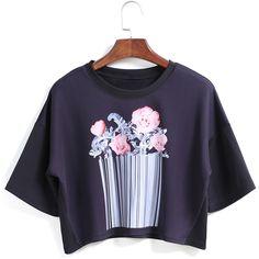 Flower Print Crop Black T-shirt featuring polyvore, fashion, clothing, tops, t-shirts, shirts, black, floral shirt, black floral shirt, black crop top, black t shirt and round neck t shirt