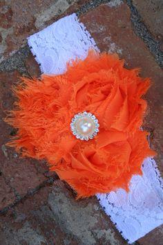 Orange Chiffon Flower Headband with Pearl Center, Girls Headband, Baby Headband, Big Girls Headbands, Little Girls Headband, Girls Head Band...