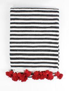 Stripe Pom Pom Blanket, Red