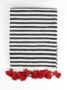 Stripe Pom Pom Blanket, Red