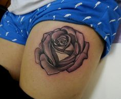Light Pink 3D Rose Thigh Tattoo!!!! Thatd be pretty awesome if it were on my thigh!