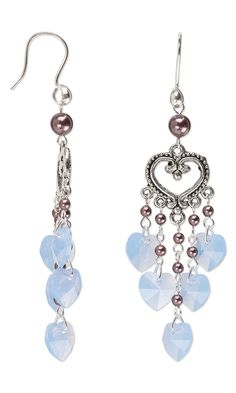 "Jewelry Design - Earrings with Swarovski Crystal Drops and Pearls and Antiqued Silver-Plated ""Pewter"" Drops - Fire Mountain Gems and Beads"