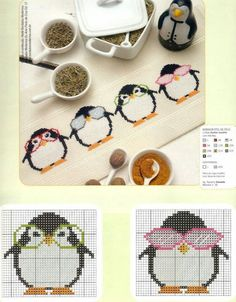 Penguin cross stitch ~ luv the glasses! Cross Stitch For Kids, Cross Stitch Bird, Cross Stitch Borders, Cross Stitch Animals, Cross Stitch Charts, Cross Stitch Designs, Cross Stitching, Cross Stitch Embroidery, Cross Stitch Patterns