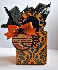 Halloween treat box | Supplies: Stamps: Vintage Demask backg… | Flickr Halloween Gift Baskets, Halloween Treat Boxes, Halloween Paper Crafts, Halloween Ribbon, Pretty Halloween, Halloween Tags, Holidays Halloween, Happy Halloween, Halloween Decorations