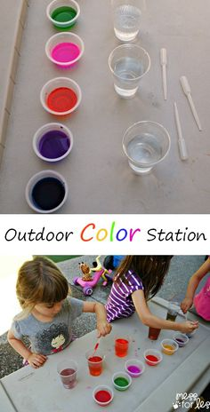 Outdoor Color Station - Kids can experiment with color mixing while working on their fine motor skills. This kept my kids entertained for ag...