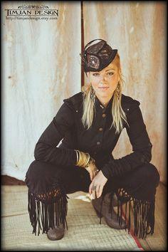 STEAMPUNK MILITARY JACKET - Steam punk Suit Blazer Hippie Boho Modern Formal Gothic Couture - Black - Size Medium