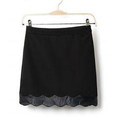 Charming Solid Color Hem Lacework Splicing Blended A-Line Skirt For Women, BLACK