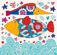 cartoon funny fishes  Sea life
