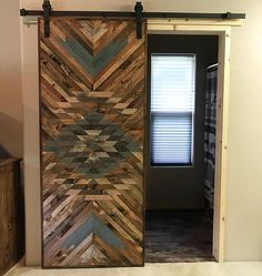 Rustic Tribal Aztec Sliding Barn Door by Bayocean Rustic Design