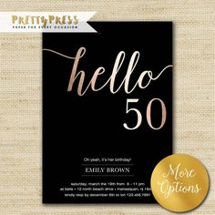 50th Birthday Invitation Modern Faux Gold Foil Hello 50 Fiftieth Cards Eco Friendly Soy