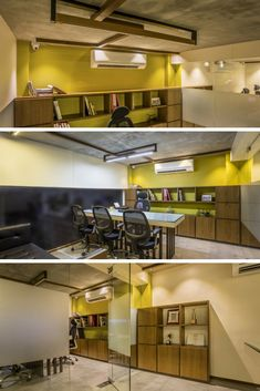 home and interiors Office Cabin Design, Small Office Design, Cabin Interior Design, Small Space Office, Interior Modern, Cabin Office, Commercial Interior Design, Commercial Interiors, Cabin Interiors