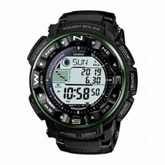 "Casio Pro Trek Mens Tough Solar Digital Watch (079767950767) A feature-packed sports watch, this Casio Pro Trek is perfect for hikers or surfers alike. Boasting a digital compass, altimeter, barometer, thermometer, and even a tide and moon data function, this watch will keep up with the most avid outdoorsman. Brand: Casio Dial Color: Gray Strap: Black resin Clasp: Buckle Movement: Quartz Water Resistance: 200m Case Width: 47mm Case Thickness: 14mm Bracelet Dimensions: 9"" long, 22mm wide ..."