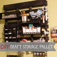 studio craft room organization using pallets and other budget friendly solutions, craft rooms, organizing, pallet, storage ideas, DIY wood pallet to storage for crafts For detailed tutorial go to