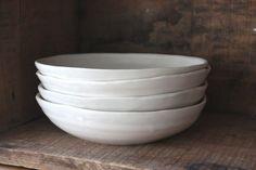 Entree Bowl Set, 4 piece white dinnerware set. $150.00, via Etsy.