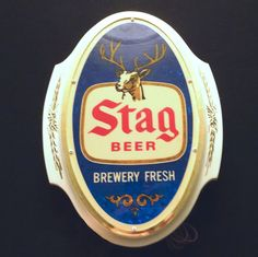 1980s Stag Beer Sign Lighted Brewery Fresh Plastic Foil Insert Gold-colored Trim