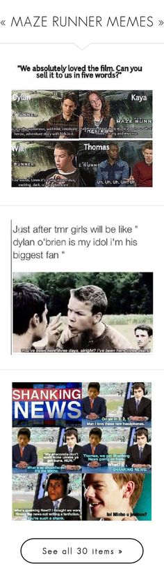 """« MAZE RUNNER MEMES »"" by leslie-seavey ❤ liked on Polyvore"